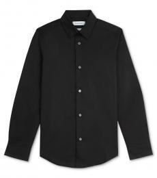 Calvin Klein Boys Black Slim Fit Solid Stretch Poplin Shirt