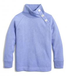 J.Crew Girls Bright Hydrangea Button Neck Sweatshirt