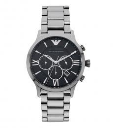 Emporio Armani Silver-Black Giovanni Chronograph Watch