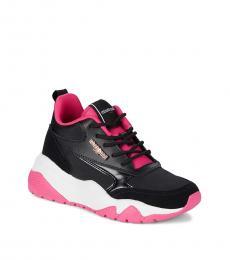 Roberto Cavalli Black Pink Colorblock Sneakers