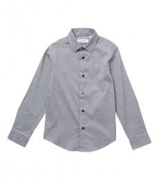 Calvin Klein Boys Blue Basketweave Dobby Dot Dress Shirt