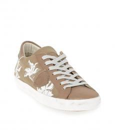Philippe Model Beige Canvas Floral Sneakers