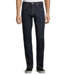 7 For All Mankind Navy Blue Textured Straight-Fit Jeans