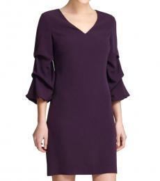 DKNY Aubergine V-Neck Ruched-Sleeve Dress