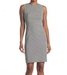 Calvin Klein Wht Black Geo Print Sheath Dress