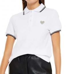 Love Moschino White Appliqued Pique Polo Shirt