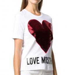 Love Moschino White Casual Heart Logo Tee