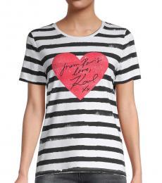 Karl Lagerfeld White Striped Heart T-Shirt