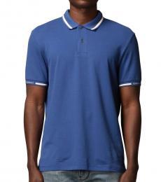 Emporio Armani Blue Logo Collar Polo