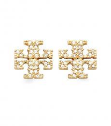 Tory Burch Gold Kira Pave Stud Earrings
