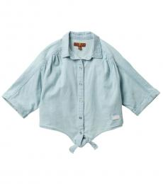 7 For All Mankind Little Girls Soft Blue The Front Tie Raglan Sleeve Top