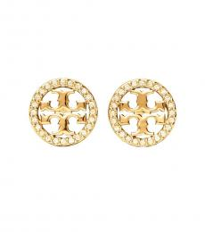 Tory Burch Gold Miller Pave Stud Earrings