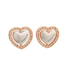 Coach Rose Gold-Silver Heart Shaped Paved Stud Earrings