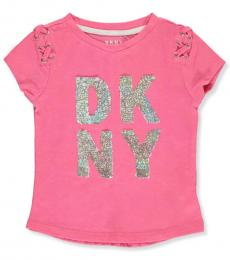 DKNY Little Girls Pink Flip Sequin Lace Top