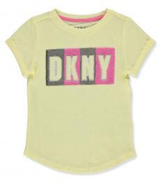 DKNY Little Girls Yellow Flip Sequin Logo T-Shirt