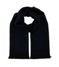 Versace Navy Blue Signature Fringed Scarf