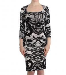 Black/White Printed Jersey Dress