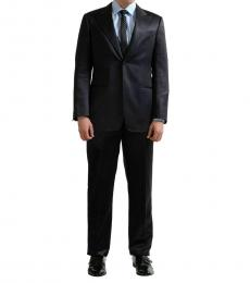 Armani Collezioni Black Striped Silk Wool Suit