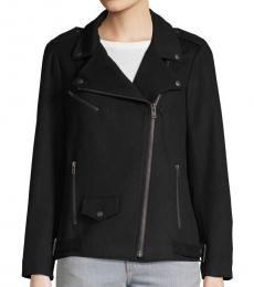 Black Wool Blend Moto Jacket