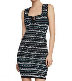 BCBGMaxazria Black Dotted Stripe Bodycon Dress