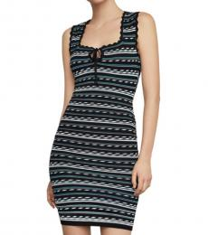 BCBGMaxazria Black Dotted Stripe Bodycon Dress