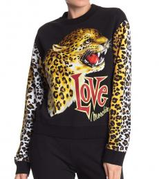 Love Moschino Black Yellow Cheetah Print Sweatshirt