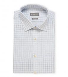 Blue White Regular Fit Plaid Dress Shirt