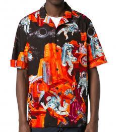 Valentino Garavani Multi Color Space Print Cotton Shirt