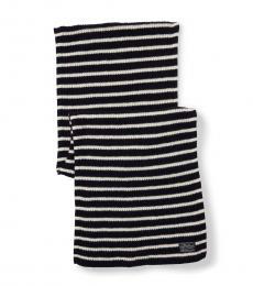Ralph Lauren Navy-Cream Striped Scarf