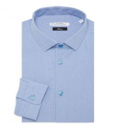 Sky Trend-Fit Dot-Print Dress Shirt