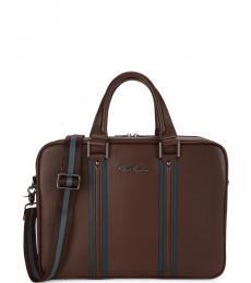 Brown Dresden I Striped Large Briefcase Bag