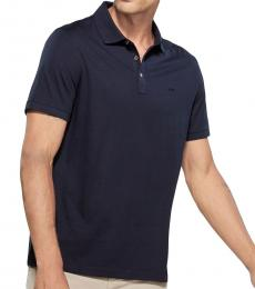 Midnight Solid Metal Button Polo