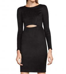 BCBGMaxazria Black  Faux Suede Cut-Out Dress