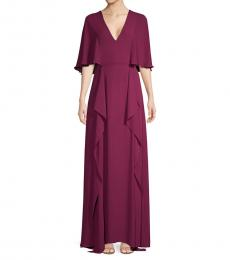 BCBGMaxazria Grape V-Neck Flounce Maxi Dress