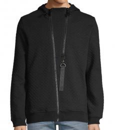 Karl Lagerfeld Black Textured Hooded Jacket