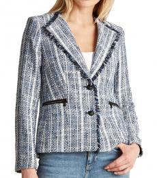 Karl Lagerfeld Blue Wing Collar Tweed Jacket