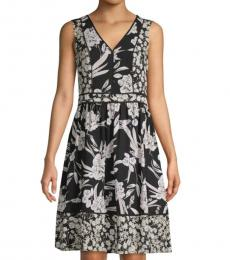 Karl Lagerfeld Black Floral-Print A-Line Dress