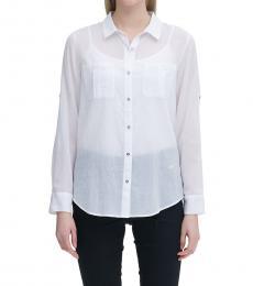 Calvin Klein Soft White Button-Down Blouse