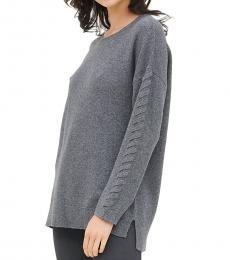 Calvin Klein Grey Braided Sleeve Sweater
