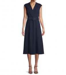 Indigo Cap-Sleeve Belted Dress