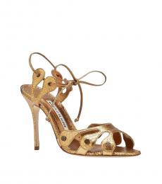 Gold Snake Print Heels
