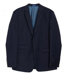Navy Blue Notch Lapel Slim Fit Jacket