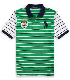 Boys Golf Green Big Pony Crest Polo