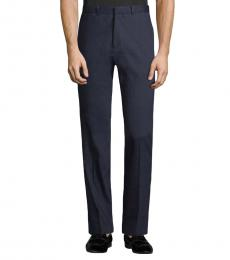 Theory Navy Blue Linen-Blend Flat-Front Pants