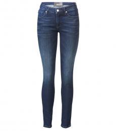 Dark Blue Mid-Rise Jeans