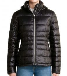 Black Hooded Packable Jacket
