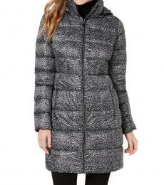 Michael Kors Leopard Print Petite Hooded Puffer Coat