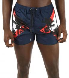 Neil Barrett Navy Blue Printed Boxer Beachwear