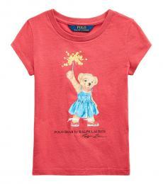 Ralph Lauren Little Girls Nantucket Red Sparkler Bear T-Shirt
