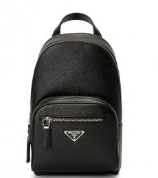 Prada Black Logo Plaque Small Backpack